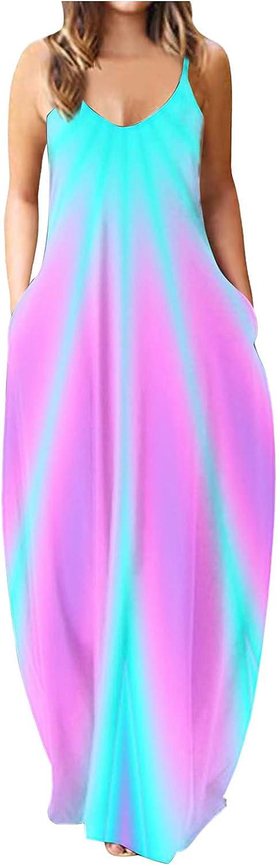 XRJ Women's Casual Dresses Summer Swing Sexy Midi Dress Sleeveless Sundresses Maxi Dress with Pocket