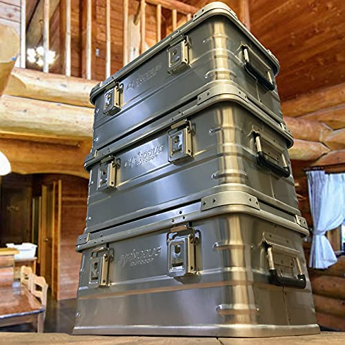 CHANODUG OUTDOORスタッキング アルミ コンテナボックス30Lアウトドアコンテナボックスキャンプ道具収納BOXトランクカーゴ