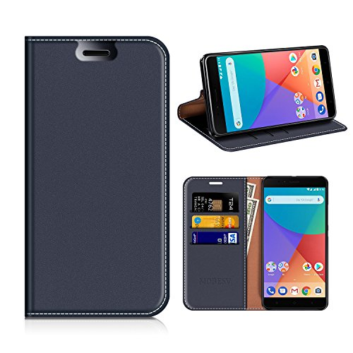 MOBESV Xiaomi Mi A1 Hülle Leder, Xiaomi Mi A1 Tasche Lederhülle/Wallet Hülle/Ledertasche Handyhülle/Schutzhülle mit Kartenfach für Xiaomi Mi A1 - Dunkel Blau