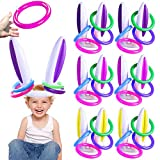 TURNMEON 6 Pack Bunny Easter Inflatable Ring Toss Easter Party Games Toys Rabbit Ears Ring Toss Kids Family School Carnival Easter Party Favors Decor Indoor Outdoor Yard Lawn Games (6 Set & 24 Rings)