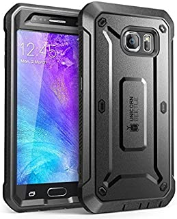 Galaxy S6 Case, SUPCASE Full-Body Rugged Holster Case with Built-in Screen Protector for Samsung Galaxy S6, Unicorn Beetle PRO Series - Retail Package (Black/Black) (Renewed)