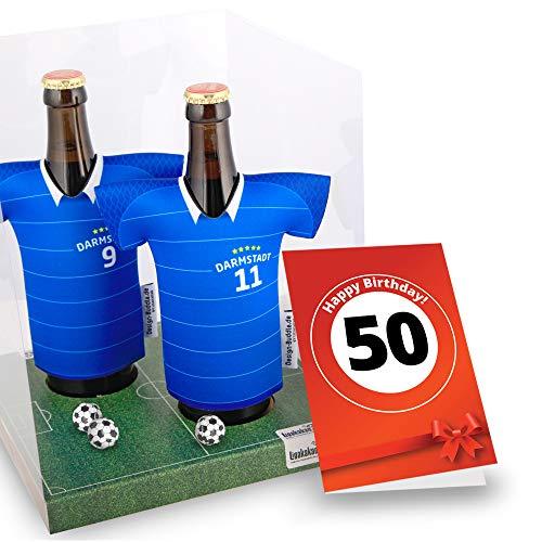 50. Geburtstag | Der Trikotkühler | Das Männergeschenk für Darmstadt-Fans | Langlebige Geschenkidee Ehe-Mann Freund Vater Geburtstag | Bier-Flaschenkühler by Ligakakao