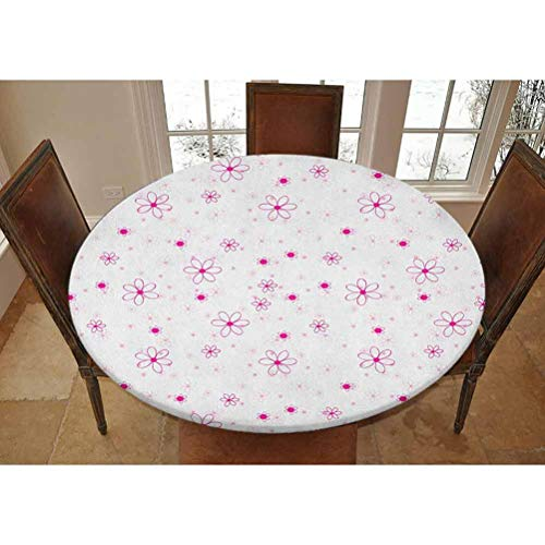 """Elastic Polyester Fitted Table Cover,Pattern with Flowers Simple Classic Art Springtime Garden Cheerful Decorative Fitted Outdoor/Indoor Tablecolth, Fits Tables 40' - 44"""",Magenta Fuchsia White"""