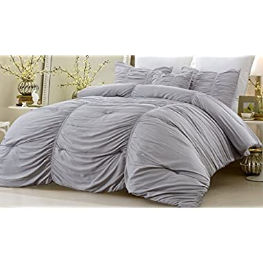 NEW - 4 Piece Ruched Comforter Set Gray Full/Queen 90 Inches x 96 Inches Fade Resistant All Season Hypoallergenic Super Soft Machine Washable Style 1052 by Web Linens Inc