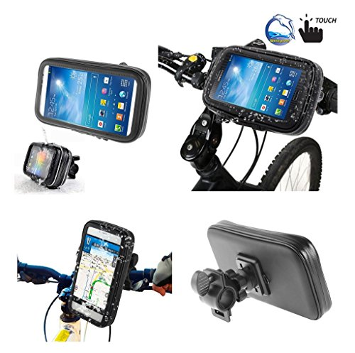 DFVmobile - Professional Support for Bicycle Handlebar and Rotatable Waterproof Motorcycle 360 for BQ AQUARIS E5 HD Ubuntu Edition - Black