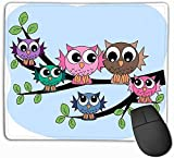 xinhengchang3506 Mouse Pad Colourful Owl Family Stars Rectangle Rubber Mousepad 11.81 X 9.84 inch