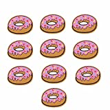 Yalulu 20 Pcs Pink Donuts Pattern Embroidered Iron On/Sew On Badge Applique Patch for Clothing