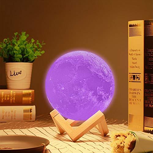 KEEPBLANCE Mond Lampe 3D, 15cm 16 Farbe Dimmbar Mondlampe, Deko Lampen, RGB Mondlicht, LED mond Nachtlicht mit Fernbedienung USB Aufladung für Schlafzimmer/Wohnzimmer/Restaurant Geschenk