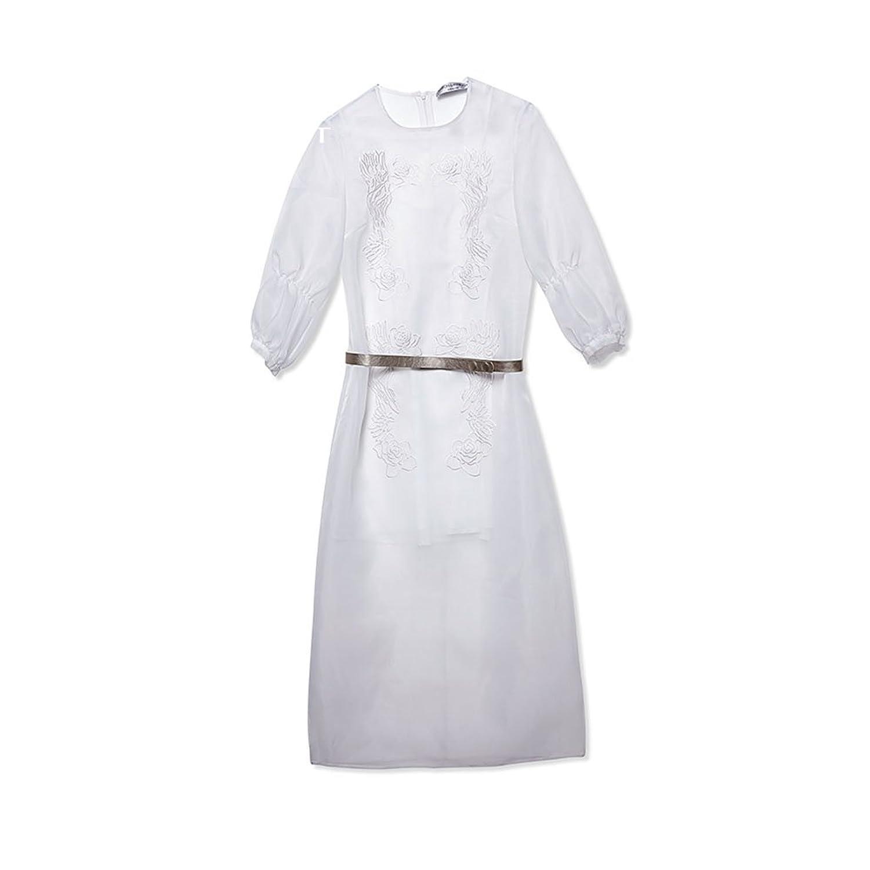 WYYY ドレス 夏の季節 ロングスカート ロングスリーブ O襟 刺繍 ホワイト セレブリティ シフォンドレス イブニングドレス (サイズ さいず : S s)