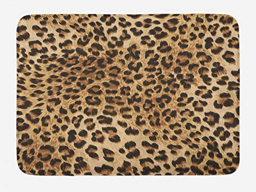 Ambesonne Leopard Print Bath Mat, Skin Pattern of a Wild Safari Animal Powerful Panthera Big Cat, Plush Bathroom Decor Mat with Non Slip Backing, 29.5' X 17.5', Pale Brown Black