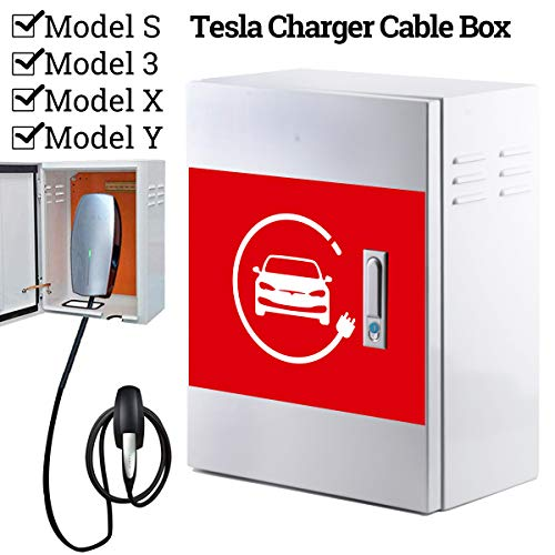 BMZX Tesla Home Charger Box Charging Cable Organizer Box Distribution Storage Box, Wall Mounting Connector Metal Box for Tesla Model S Model X Model 3 Model Y
