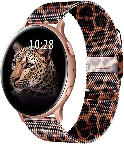 Morsey 20mm Watch Band Compatible with Samsung Galaxy Watch Active 2/Samsung Galaxy Watch 3 41mm/Active 2 Band, 20mm Quick Release Stainless Steel Strap for Galaxy Watch 42mm/Gear Sport (Leopard grain