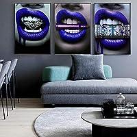 ウォールアートキャンバス絵画1Pcグラフィティダラーマネークラウドガールセクシーな唇抽象的なポスター写真リビングルームの装飾60x80cmx3Pcsフレームなし
