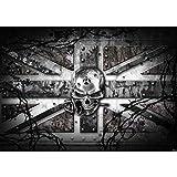 Vlies Fototapete PREMIUM PLUS Wand Foto Tapete Wand Bild Vliestapete - Totenkopf Rose Stachel England Nieten - no. 720, Größe:368x254cm Vlies