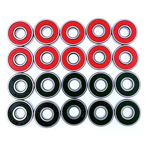JZK 20 x Wasserdicht Kugellager 608 RS Skateboard kugellager ABEC 9 für Skateboard Longboard Rollschuhen Roller Inline Skates, Rot und Schwarz