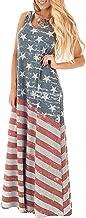 Spadehill Women's July 4th American Flag Printed Sleeveless Maxi Dress