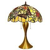Anyi Luz de Mariposa Tiffany, lámpara de Estilo Tiffany Colorida, lámpara de Mesa de Vidrio Manchado Artesanal, decoración de Arte, lámparas de Escritorio para Sala de Estar