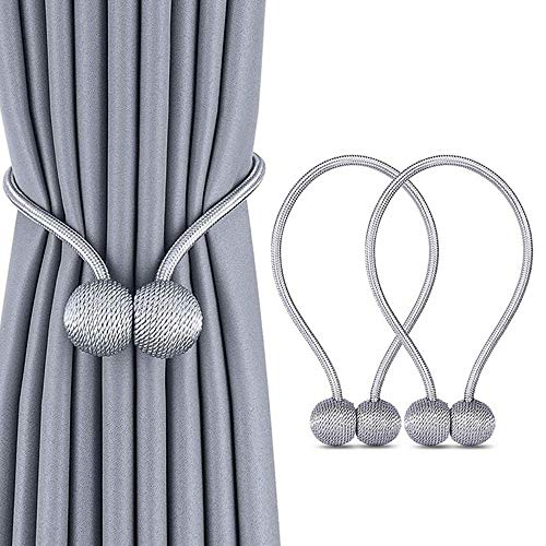 Stay Smart Way Magnetic Curtain Tie Back – 2 PCS Weave Holdbacks Holders, Strong Magnetic Curtain Holdbacks for Blackout and Sheer Window Treatment and Draperies (Gray)