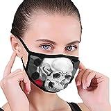 Totenkopf-Maske, Rot / Schwarz / Weiß / Grau