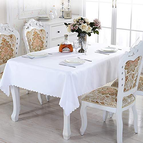 Tischdecke, 150 x 200 cm, rechteckig, waschbar, Polyester, ideal für Buffet-Tisch, Partys, Urlaub, Abendessen, Hochzeit, rechteckige Tischdecke (weiß)