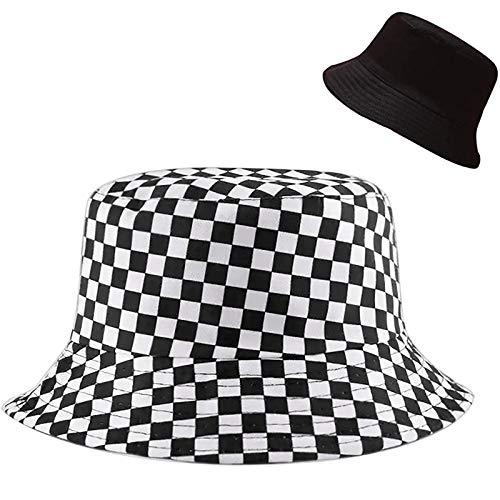 Malaxlx Cute Checkered Print Bucket Hat Beach Sun Hat Aesthetic Fishing Hat for Men Women Teens, Reversible Double-Side-Wear