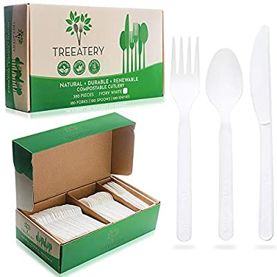 TREEATERY 100% Compostable Cutlery Set [380 Pack] - Plant A Tree With Every Box - Eco Friendly Utensils Disposable Silverware Box - Large Durable Heat Resistant Compostable Utensils in Convenient Tray