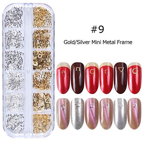 MEIYY nageldecoratie 1 Doos 3D Metalen klinknagels Frame Nagel Art Decoratie Zeeschelp Ovaal Rose Goud Zilveren Studs Kralen Sieraden Nagel Accessoires 09.