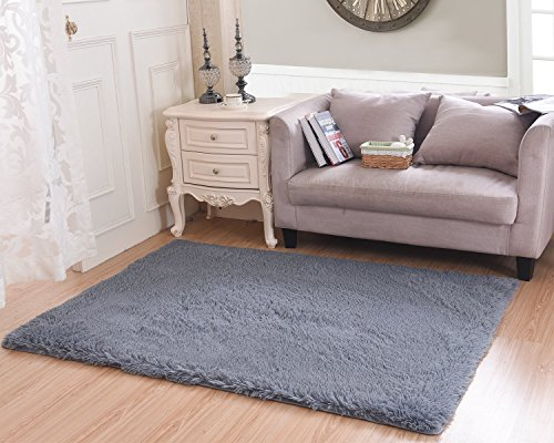MBIGM Super Soft Modern Shag Area Rugs Purple Living Room Carpet Bedroom Rug Washable Rugs Solid Home Decorator Floor Rug and Carpets 4- feet by 5- feet, Grey
