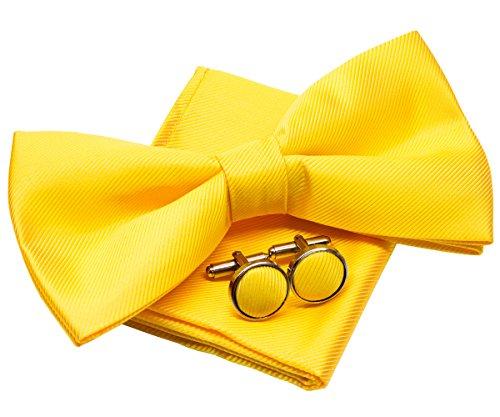 Retreez Herren Gewebte einfarbig vorgebundene Fliege 13 cm und Einstecktuch und Manschettenknöpfe im Set, Geschenkset, e - gelb