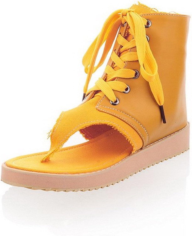 WeenFashion Women's Split Toe Low-Heels Soft Material Solid Lace-up Flip-Flop-Sandals