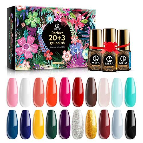 MEFA Gel Nail Polish Set 23 Pcs Gifts Box - Soak Off UV LED Color Gel Varnish with No Wipe Base and...