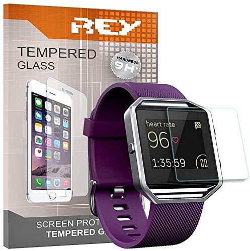 REY Pack 3X Pellicola salvaschermo per Fitbit Blaze, Pellicole salvaschermo Vetro Temperato 9H+, qualità Premium