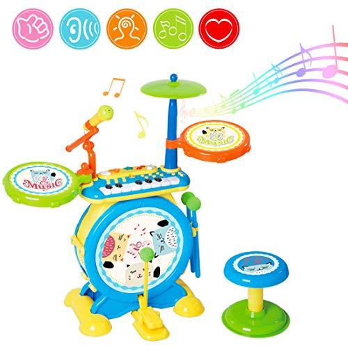 deAO Conjunto Rock and Roll de Juguete Instrumentos Electrónicos Infantiles Incluye Kit de Batería y Percusión, Teclado de Piano, Micrófono y Taburete para Niños y Niñas