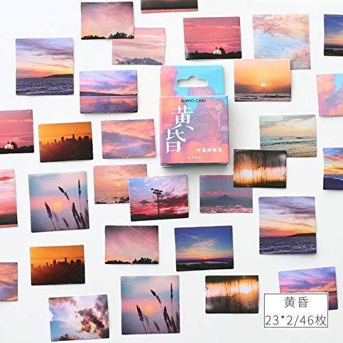 PMSMT Crepúsculo Paisaje Papel Diario pequeño Mini Caja Kawaii Pegatinas Set Scrapbooking Copos Lindos Diario papelería