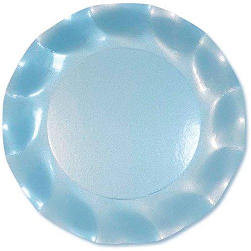 Ck - 10 Assiettes Carton D27cm Bleu Ciel Perlé