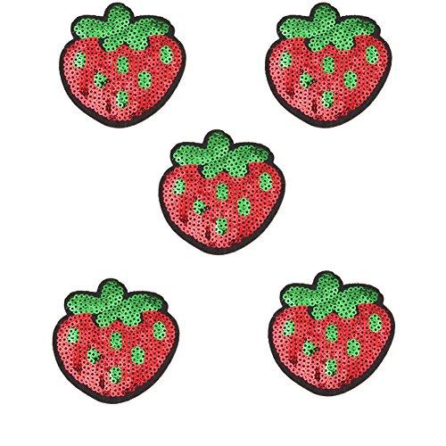 Demarkt 5 Stück Patches Bestickte Aufnäher Obst Patches Nähen Patch Sticker Applique Badge für Kleid Hut Schuhe Jeans DIY Kostüm Schmücken (Erdbeere)