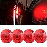 Sidaqi 4 luces de advertencia universales inalámbricas para puerta de coche rojas, luces de advertencia LED intermitentes, luces anticolisión de encendido / apagado automático, impermeables