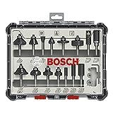 Bosch Professional 2607017471 Juego de 15 fresas (para madera, para fresadoras con vástago de 6 mm), Color