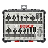 Bosch Professional 2607017471 15tlg. Set di frese (per legno, per frese verticali con stelo da 6 mm)