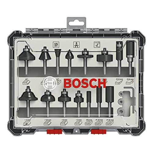 Bosch Professional 15tlg. Fräser Set (für Holz, für Oberfräsen mit 6 mm Schaft)