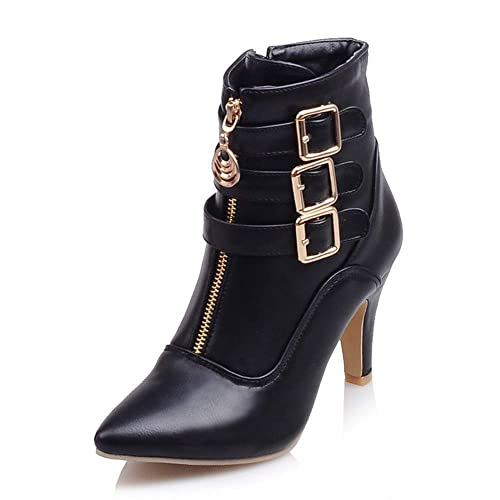 38ec0555b88 Meotina Women Ankle Boots High Heels Buckle Pointed Toe Shoes