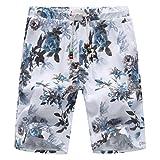 WANG Summer Fashion Men's Shorts Casual Flower Print Elastic Waist Shorts Men Slim Fit Board Shorts Casual Shorts,K15,XXL