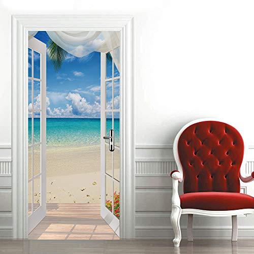 ZDDBD Sticker De Porte Trompe l'oeil Effect 3D Muraux Décoration Porte Vitrée PVC Imperméable pour Chambre Salle De Bain Cuisine Décoration 77X200Cm