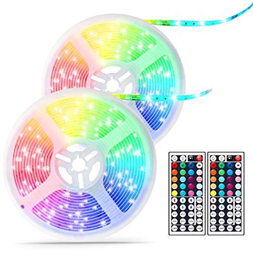 32.8FT LED Strip Lights RGB, Waterproof Light Strip Room Lights Flexible Tape Lights with Remote, Dimmable LED Lights Strip SMD5050 for TV, Bedroom, Kitchen, Bar DéCor