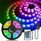 Aigostar Tiras LED 5M, RGB Tiras de Luces LED con Control Remoto, IP65 Impermeable, Tira LED Adhesivas 12V con 16 Colores y 4 Modos de Escena para Habitación, Dormitorio, Salón, Fiesta y Decoración