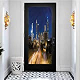3D Door Sticker Self-Adhesive Waterproof Removable Wallpaper, Urban Atlanta Skyline Twilight, Reusable Erasable for Kids Home Office, W23.6 x L78.7 Inch