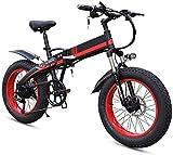 Bicicleta electrica, Bicicleta eléctrica plegable para adultos, neumáticos de 20 pulgadas Bicicleta eléctrica de montaña, marco de aleación ligero ajustable Variable 7 Velocidad E-bike con pantalla LC