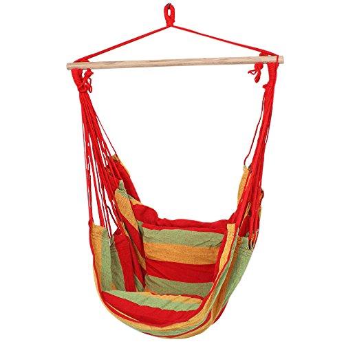 Harms Plafonds de patio haute qualité suspendus fauteuil bois textile coton polyester rouge 507015