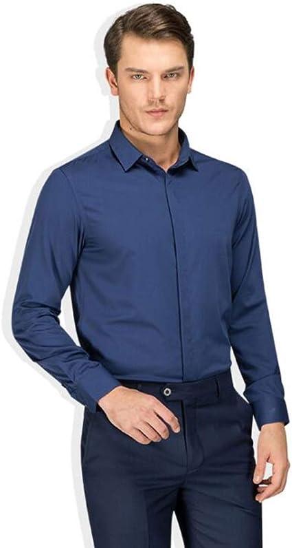 QJXSAN Camisa de Negocios for Hombre, Botón Delgado de Seda ...
