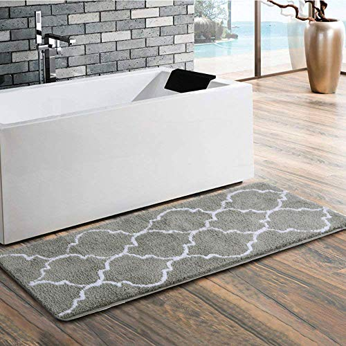 "Uphome Moroccan Patten Extra Long Bathroom Rug, Microfiber Washable Non-Slip Soft Absorbent Decorative Bath Mats Runner Floor Mat Carpet (18"" W x 48"" L, Grey)"